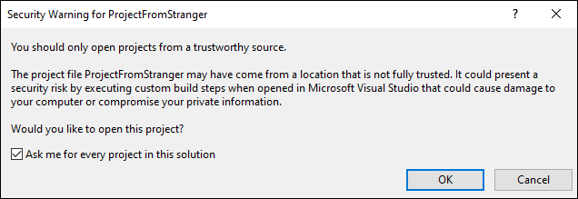 Visual Studio project security warning window.