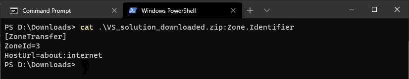 Command prompt: dir /r VS_solution_download.zip